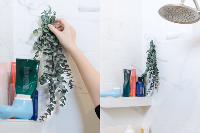 HANG EUCALYPTUS SPRIGS IN YOUR SHOWER | Your local florist & most gardening shops have eucalyptus sprigs for a few dollars. Tie 2-3 sprigs together & use a rubber suction cup or a Command hook to hang them near or onto your shower head. Natural essentials oils will be released with heat & steam.