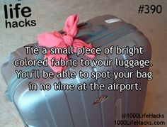 Do you ever get confused about what suitcase is yours when collecting it at the airport? This is an amazing and stylus way to find it, take a piece of ribbon or material and tie it to the handle of the suitcase, this will help you find your suitcase in no time👜💼