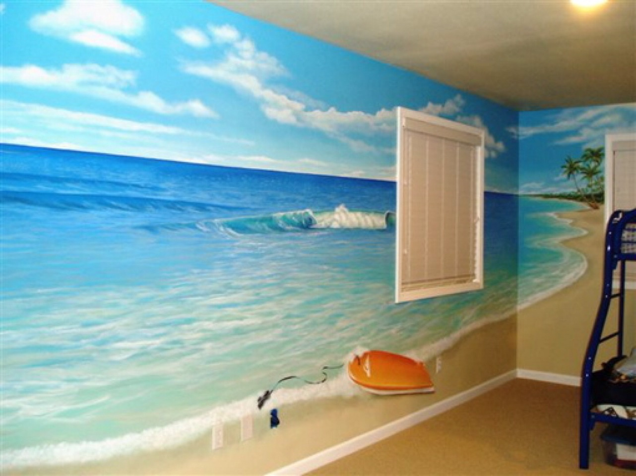 If you can't find the right colour that reminds you of the beach then paint the beach on the walls- literally!!!!