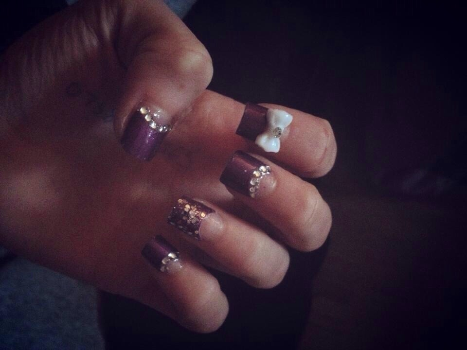Purple tips with silver diamantés and white 3d bow