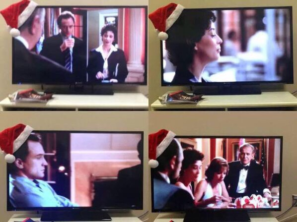 CHRISTMAS DRINKING GAME  Place a Santa hat on the corner of your TV and every time someone wears it... DRINK. It can also be a drinking game for underage people/children by using juice!