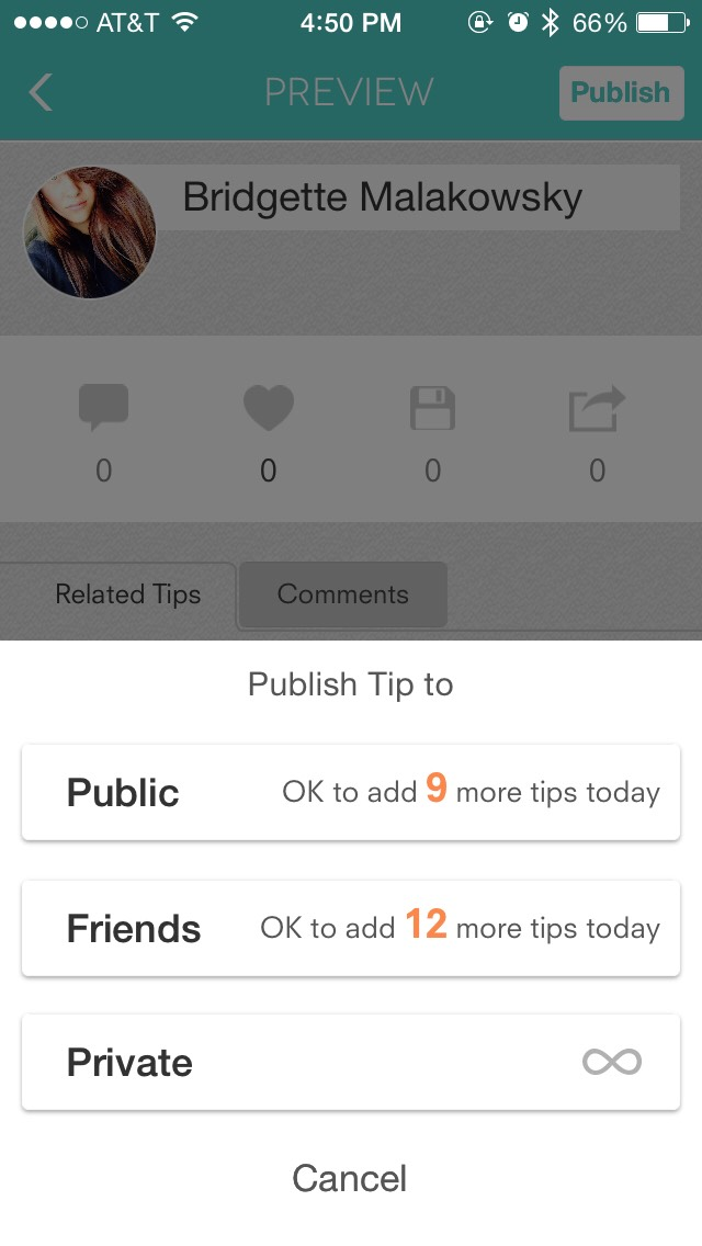And publish the tip as private! Now you have your pictures in here so you can delete them off your phone and nobody will be able to see them on here because your tip is private!