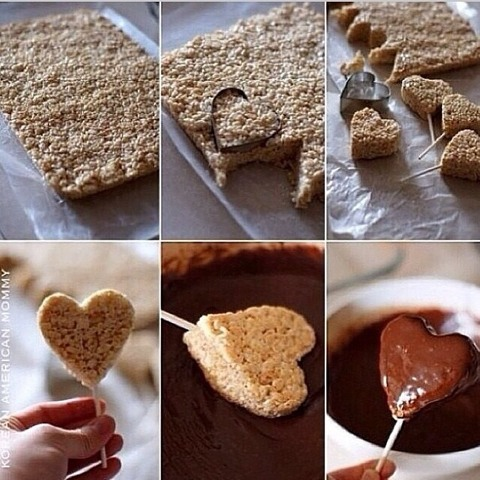 Ingredients: -Rice Krispie cereal -Marsmallows - Butter -Melting chocolate  Melt the butter in a sauce pan, then add marsmallows and stir until they are melted. Add the cereal to the marsmallow mixture and then put it in a place(idk where to say haha🙊)wait until it's cold to continue with chocolate