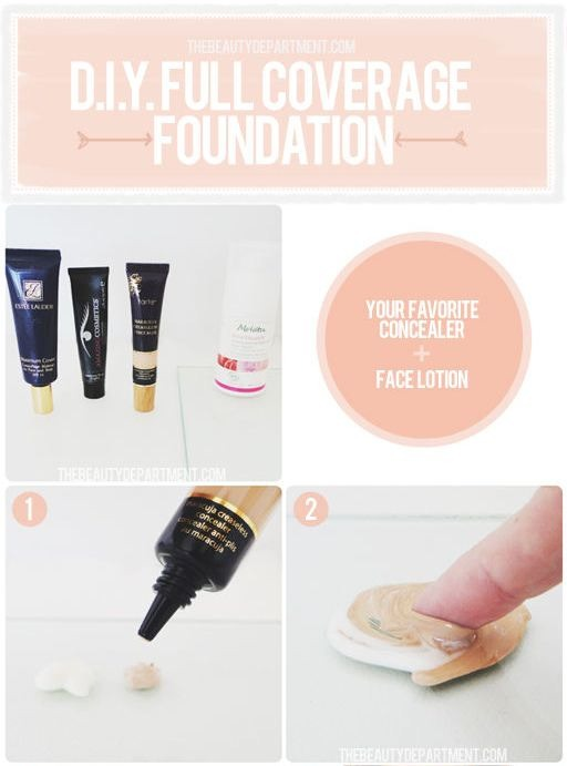 23. DIY Tinted Moisturizer This works just as well as a B&B cream, hiding imperfections with a really natural look; simply mix your favorite facial moisturizer with a little bit of concealer. This way you can customize it with just the right amount of coverage.