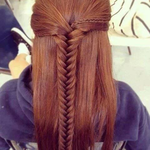 Half up half down fishtail with 1 little fishtails coming from each side.