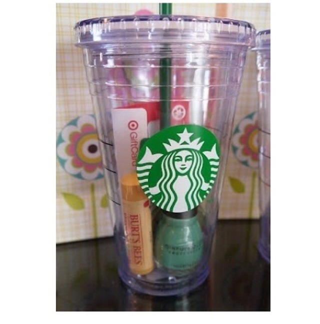 1. Fill a reusable cup with their favorite things (lipbalm, nailpolish, gift cards, candy, gum and anything else that fits
