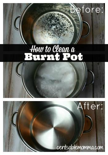 how to clean a badly burned pot