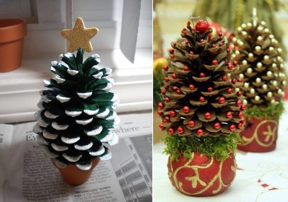 Paint a pine cone and turn it into a mini christmas tree!!!