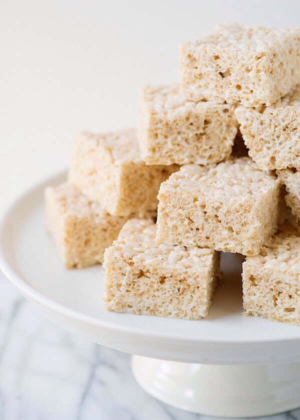 Rinse your hands in cold water before you shape the rice Krispy treats to keep them from sticking