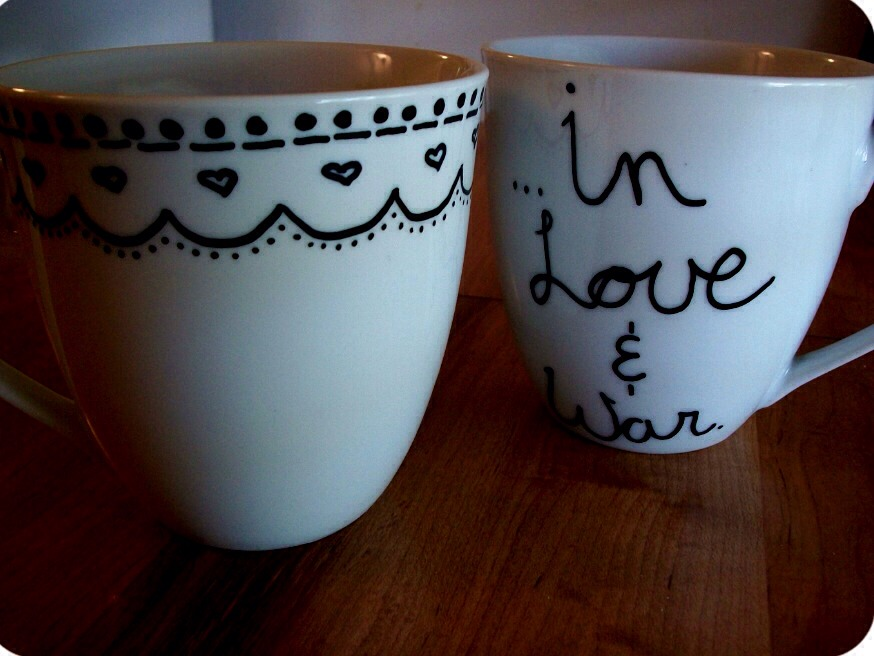The marker will be permanently on the mug and be ready as a gift.   You can also do this with ceramic plates or bowls if you wish to make a matching set.