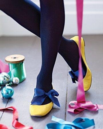 4. Tie a ribbon around your feet and then slip on some flats to one-up a simple look.