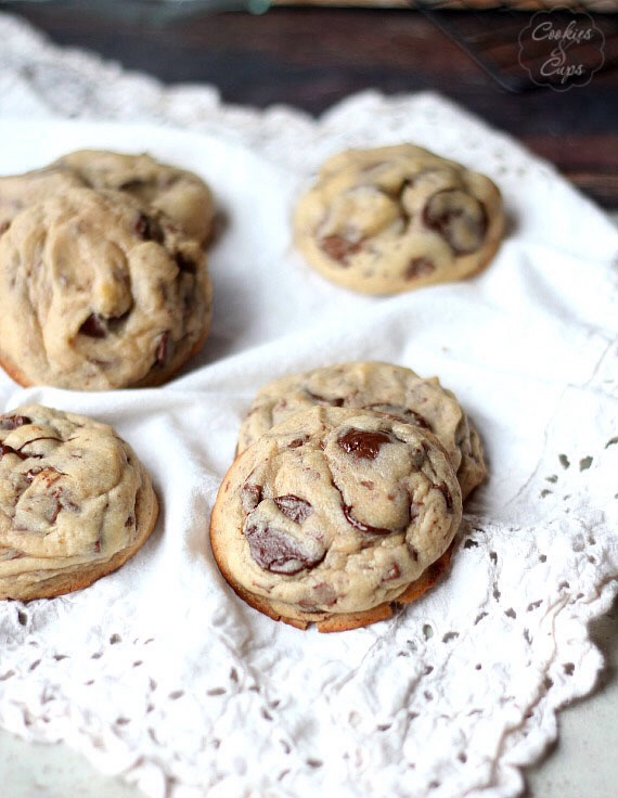 Super gooey chocolatey and delicious !  I love this recipe for perfect chocolate chunk cookies!  A nice thick, soft cookie, slightly crispy around the edges, loaded with milk and semi-sweet chocolate chunks!