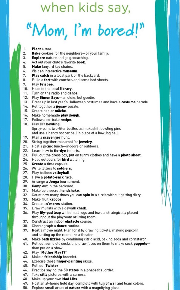 101 Things To Do When Kids Say Mom I M Bored By Miss M Musely