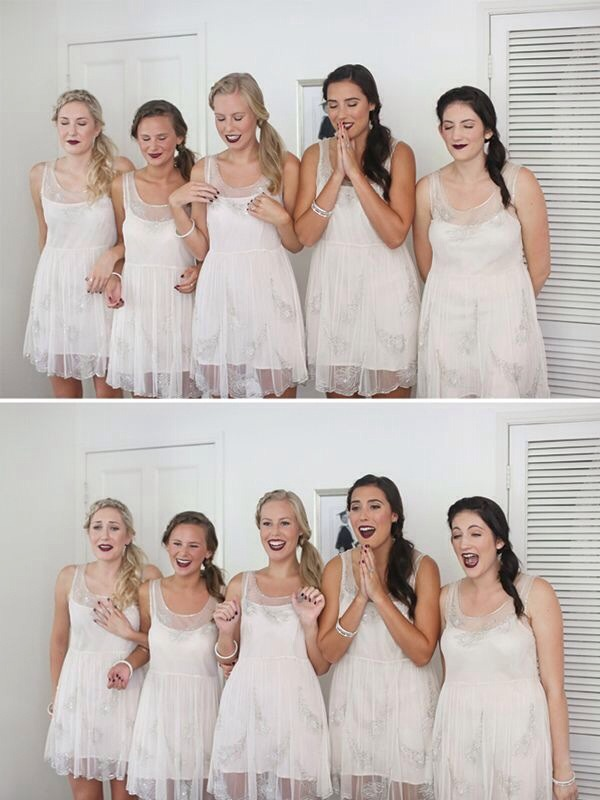 Have your bridesmaids close their eyes and wait to see your dress, then their reactions! LOVE! 💗