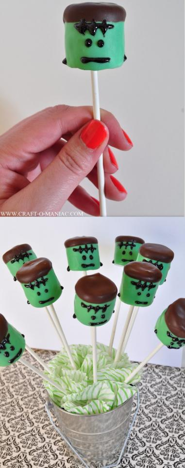 These Frankenstein Marshmallow Pops are so simple to make. You take marshmallows and dip them in melted green candy chocolates as well as chocolate mint or regular chocolate candy melts for the hair.  use Wiltons Glittery Gel for the scar, face, and bolts!.