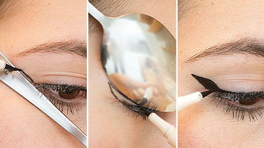 Perfect winged eyeliner with a spoon