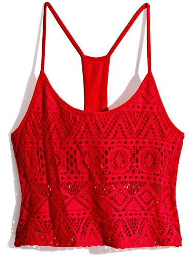 Crochet Crop Top A bright, airy tank amps up denim cutoffs.