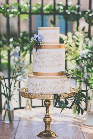 Say it With CakeThe latest in wedding cake trends is all about expressing your love story. Whether your cake features one of your favorite romantic quotes or chronicles your entire relationship, these cakes are more than just towers of yummy buttercream.
