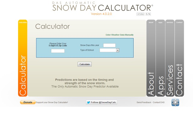 Google www.snowdaycalculator.com enter your zip code and it will tell you your chance of having a snow day the following day. 100% free.