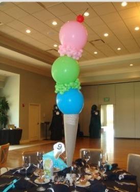 Ice cream balloon centrepiece !! So easy ! Omg!