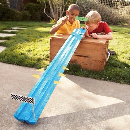 Marble race. Cut pool noodle in half and decorate!
