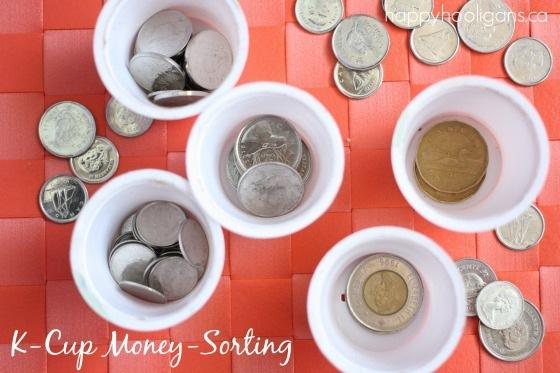 7. Young children can use K-cups for a money-sorting activity.