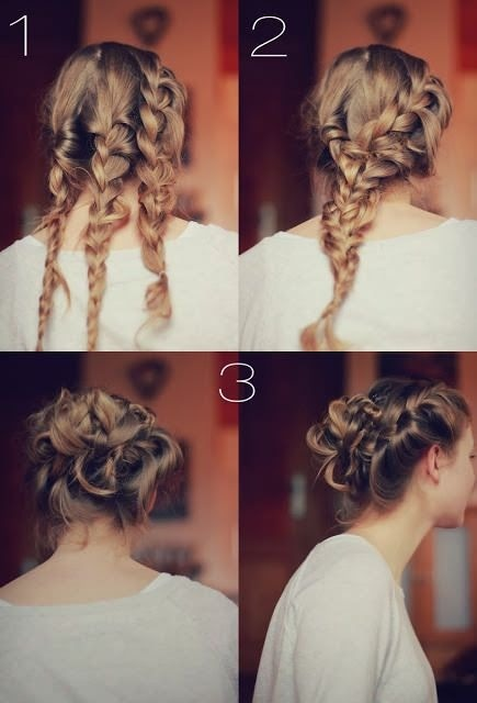 Braid your hair in three braids, then braid those and pin it up, so simple! Wish my hair was long enough to do this. 😛 It's so pretty! 😊