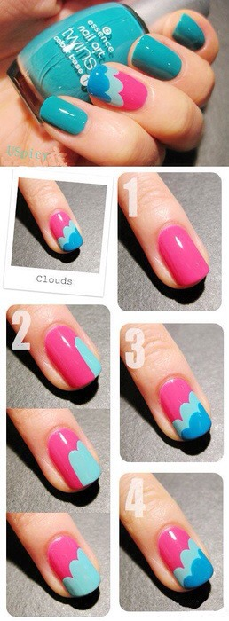 👆(Double tap for a fuller sized image)!  ☁Cute clouds nail tutorial! 💅