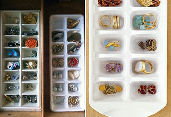 Use ice trays to organize your earrings.