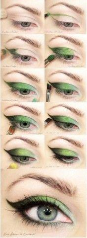 green eye shadow brings out your beautiful brown eyes you can also use a light green as well