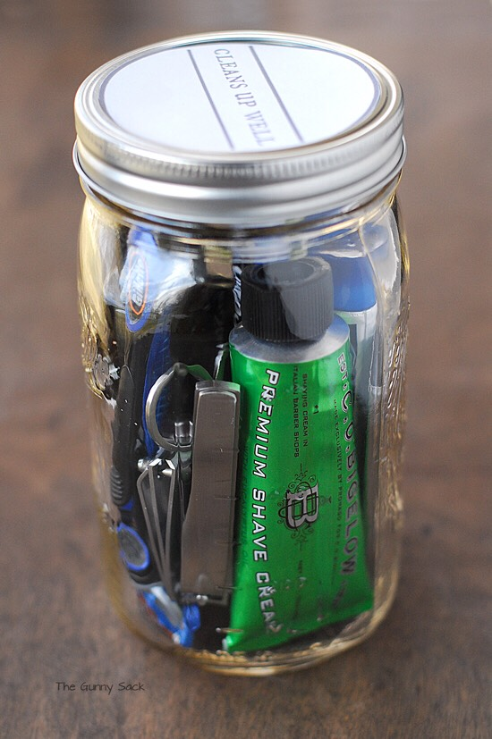 A mans jar. From shaving cream to a small toolkit.