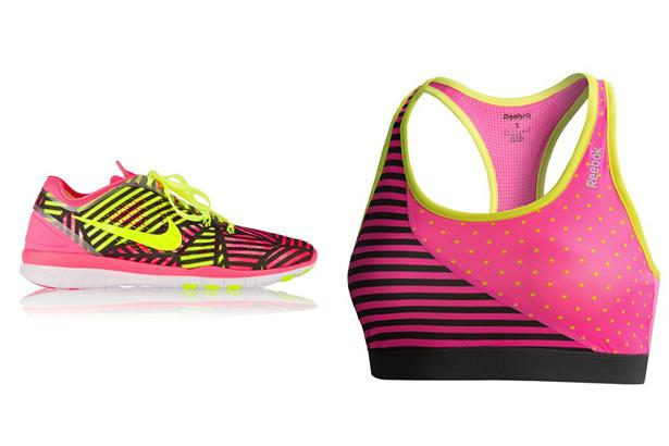 Nike Free 5.0 Mesh Sneakers, $110 at Net-a-Porter  Reebok Dots Sports Bra, $19.95 at Sierra Trading Post