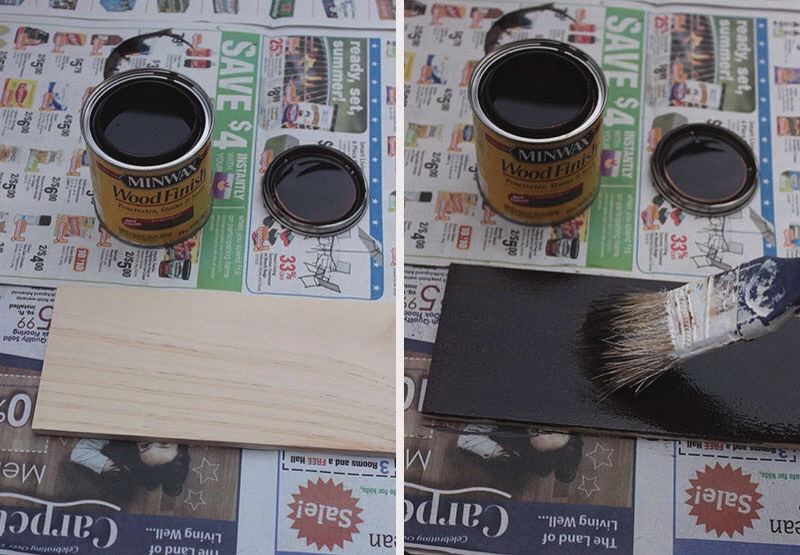 1. This first step is optional, but I chose to stain the piece of wood in a dark Espresso color.  2. Let the stain dry thoroughly! I waited a whole day