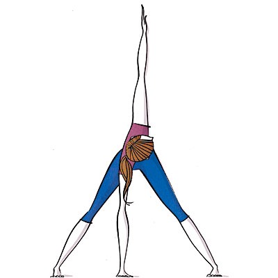 Wide-leg standing twist Stretches hamstrings, increases spine flexibility, improves mobility in shoulders  Step feet a bit closer, feet parallel. With spine long, exhale; fold forward from hips, bring hands to floor; hold. Inhale, twist torso left, reach left hand straight up; hold. (Continued) --->