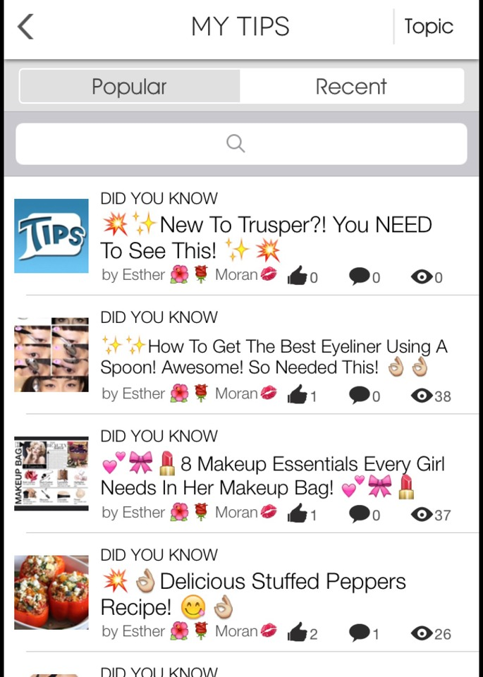 To browse someone's most recent tips, just select the recent tap above, and guess what?!! -->