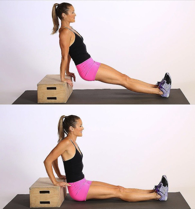 3. Tricep Dips This exercise not only tones your triceps but also your chest muscles – you will feel the tension at the side of your breasts as you move down and up – those are the chest muscles the dips will be building and strengthening. A basic body-weight exercise, triceps dips don't require much equipment: if you don't have a bench or a chair, you can always do them on the ground.