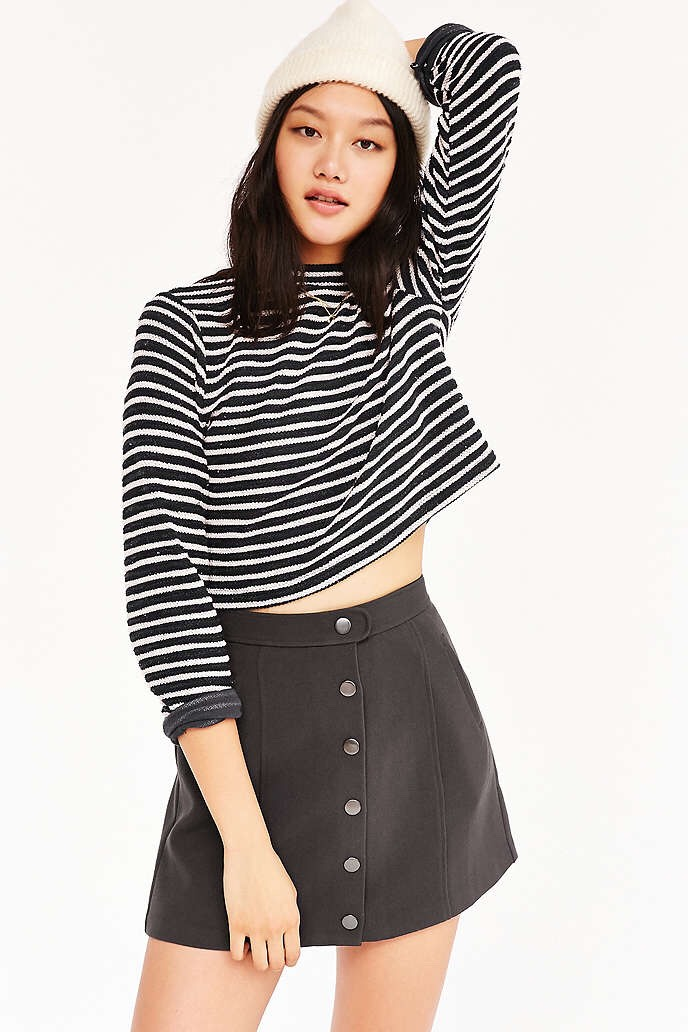 Staple skirt needed, cute to wear with pantyhose or knee high socks . Completely versatile and also completely cute. Match it up with printed crops and layered over a cute jacket. #tipit
