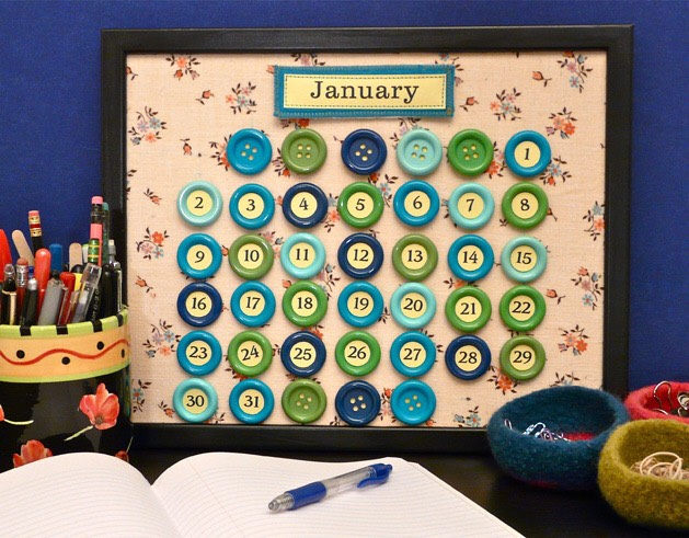 Use those old buttons to create a calendar to keep track of those days!