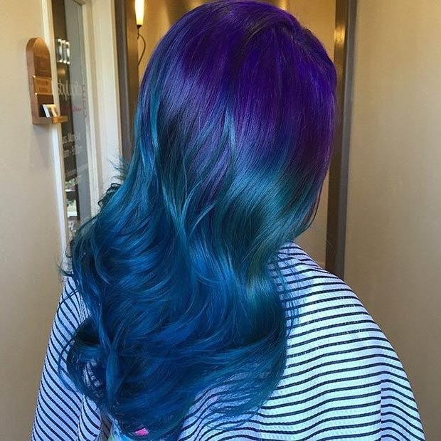 PURPLE TO BLUE OMBRE: Unleash your inner mermaid with this jaw-dropping purple and blue look. We think this is one of the most gorgeous color combos ever!