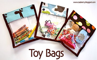 Make your own see through toy bags to organize all the little items your kids collect.