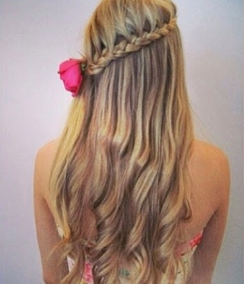~Lace braid~  The lace braid is like the French braid only you are adding one strand of hair to one side instead of adding hair to both.