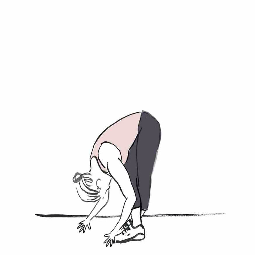 LEG CROSSOVERS Standing, cross your feet and then bend down from the waist with straight legs. Do this five times with your right leg in front and then re-cross your legs and stretch five times with your left leg in front.