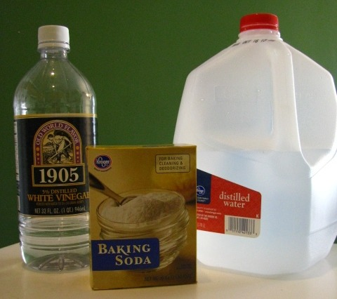 1 cup of baking soda 1 gallon of boiling water (only add if the water level is low) 2 cups of vinegar