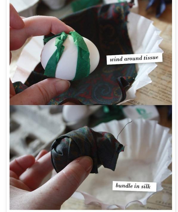 Strip tissue paper around egg.then rap silk around the egg with design facing egg.