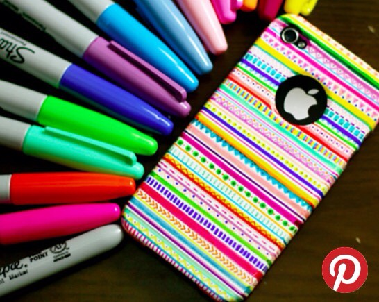 Jazz up your iPhone case with sharpies; they don't wear off or smudge. Simply just get a plain case that fits your phone - any colour - and there you have it, a snazzy new  personalised phone case 💕