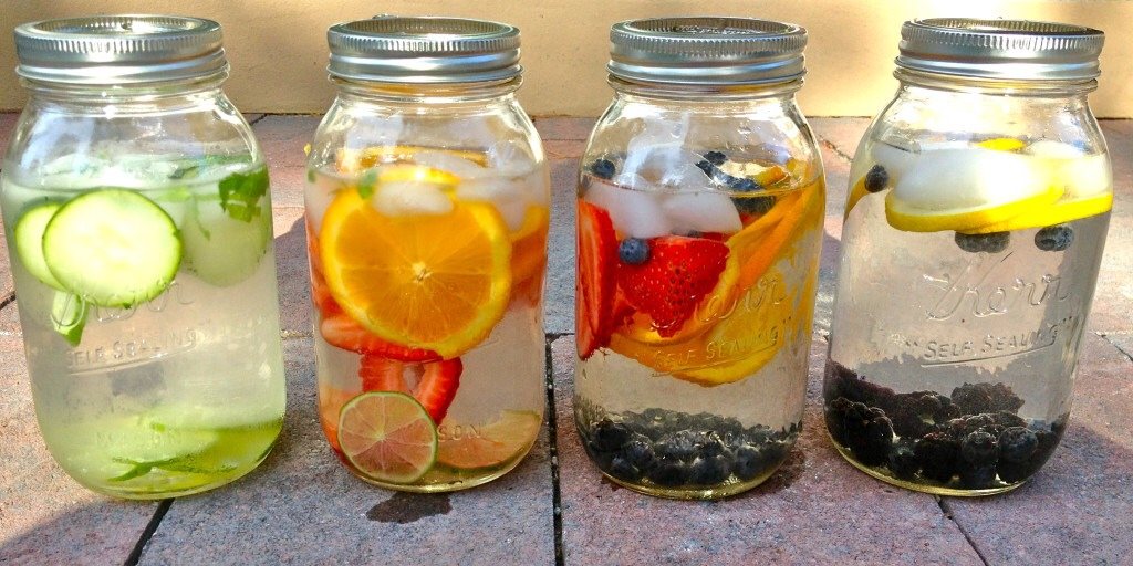 Infused waters are good for detoxification, energy and hydration. Put as much fruit as you want in water and let the water sit for at least 30 minutes. I normally put the fruit in hot water and leave to cool then I put them into the fridge overnight.