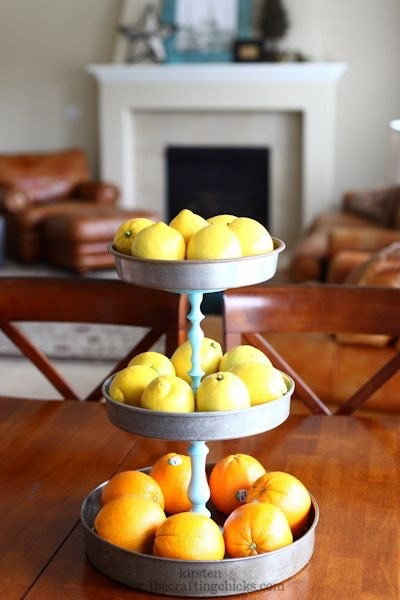 Create a tiered display stand from a few simple objects.