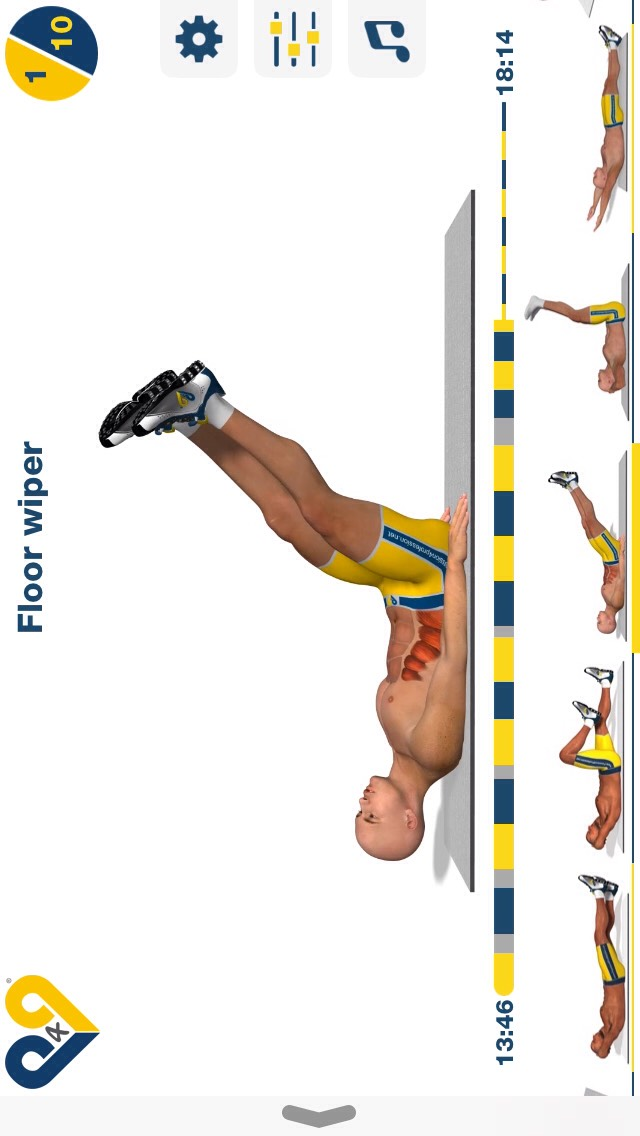 floor wiper, lay on your back w/ your head slightly elevated & swipe your legs from side to side; 10 reps.