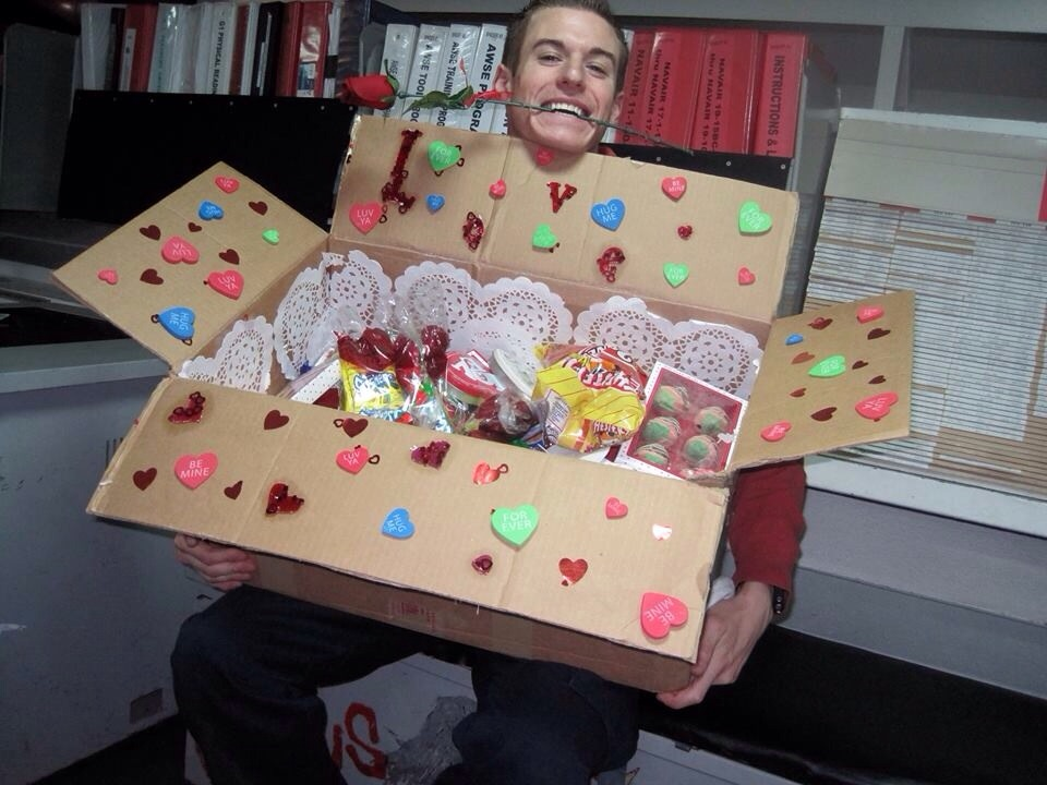 surprise your sailer soldier with a decorated valentines day care package and full it with