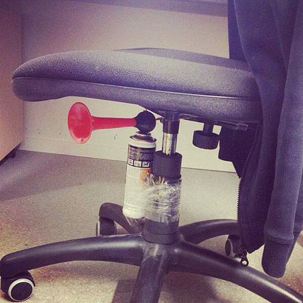 Attach an air horn to someone's seat